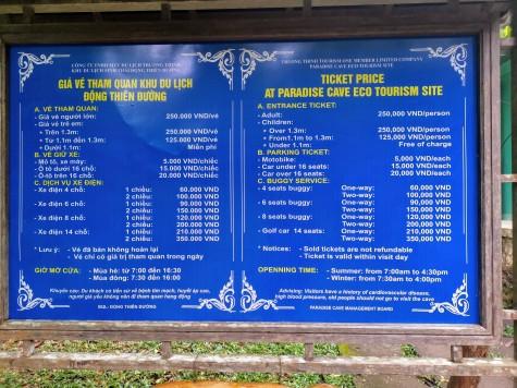 Paradise Cave bilet fiyatları