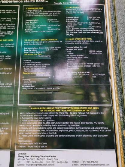 Phong Nha ve Tien Son Mağaraları bilet fiyatları