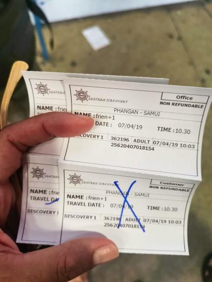 Koh Phangan-Koh Samui biletlerimiz