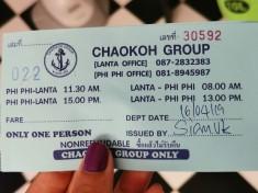 Koh Phi Phi-Koh Lanta biletlerimiz