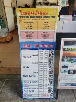 Phi Phi'den feribot fiyat ve saat bilgileri